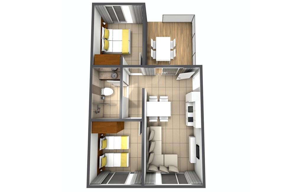 Eksempel på 3-værelses lejlighed i hus/villa med fire senge