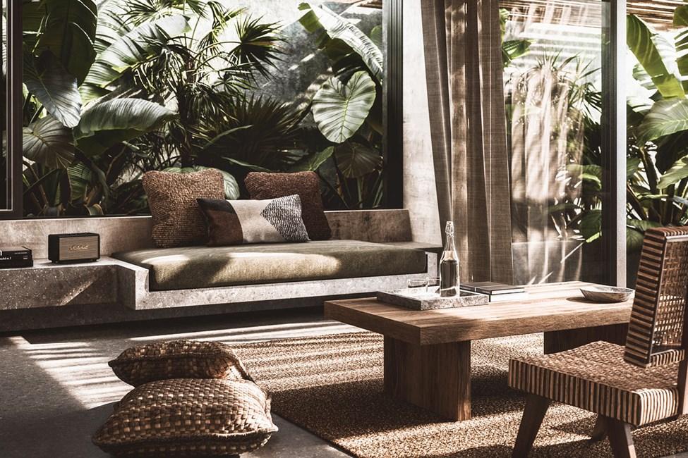 Illustration - værelse med tre rum i villa med privat pool
