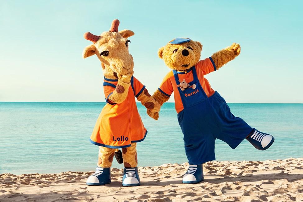 Vores populære maskotter - giraffen Lollo og bjørnen Bernie