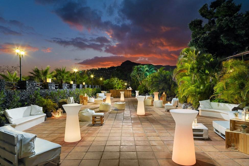 En af hotellets terrasser