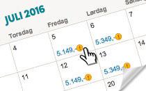 Find billige rejser med lavpriskalenderen!